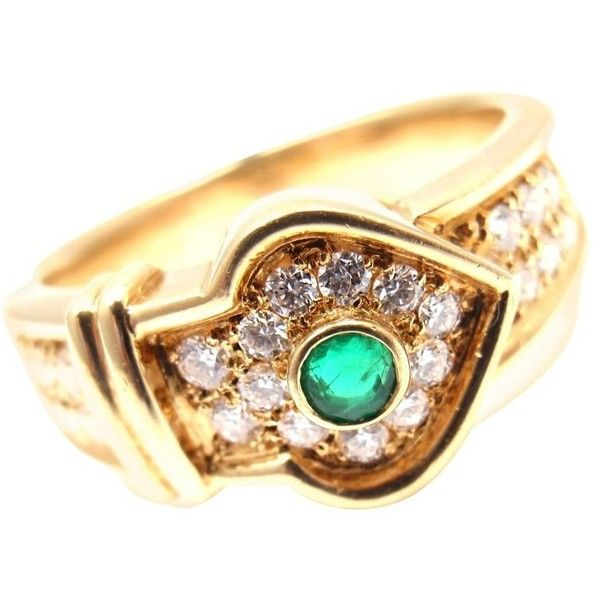 Preowned Christian Dior Diamond Emerald Yellow Gold Ring ($2,900) ❤ liked on Polyvore featuring jewelry, rings, cocktail rings, yellow, 18 karat gold ring, yellow gold rings, gold cocktail rings, gold statement ring and pre owned diamond rings
