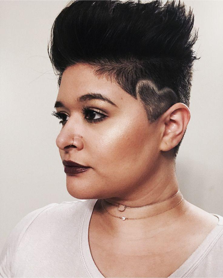 Haircut by Hinano Lino @HAWAIIS_BARBER on Adrielle Lino @adriellemariah |Short hair | short black hair | undercut | hair design | heart design | short dark hair | barber | hairstyle | shaved head | girl shaved | | girl buzz | hair art | hair tattoo