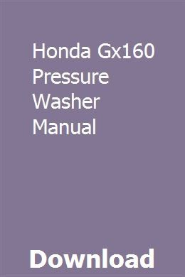 Honda Gx160 Pressure Washer Manual pdf download