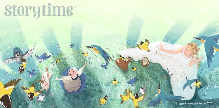Betushka and the Wood Fairy dance with the birds in Storytime Issue 29! Magical illustrations by Teresa Martinez (https://www.behance.net/teresamtz) ~ STORYTIMEMAGAZINE.COM