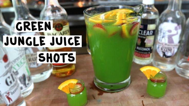GREEN JUNGLE JUICE SHOTS 3 oz. (90ml) Bacardi 151 3 oz. (90ml) Everclear 1 1/2 oz. (45ml) Vodka 1 1/2 oz. (45ml) Tequila 1 1/2 oz. (45ml) Rum 1 1/2 oz. (45ml) Gin 1 1/2 oz. (45ml) Coconut Rum 6 oz. (180ml) Passion Fruit Juice 6 oz. (180ml) Mango Nectar 2 oz. (60ml) Orange Juice 2 oz. (60ml) Blue Lemonade 1 1/2 oz. (45ml) Blue Curaçao Fruits: Strawberry Slices, Orange Slices PREPARATION 1. Drop fruits in base of pitcher and pour over liquors and mixers. St...