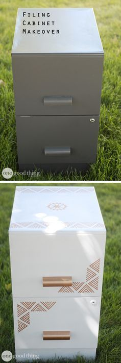 Do you have an old metal filing cabinet that could use a little TLC?  A little paint and a few stencils can turn a boring, outdated, eyesore into a lovely piece of home decor.