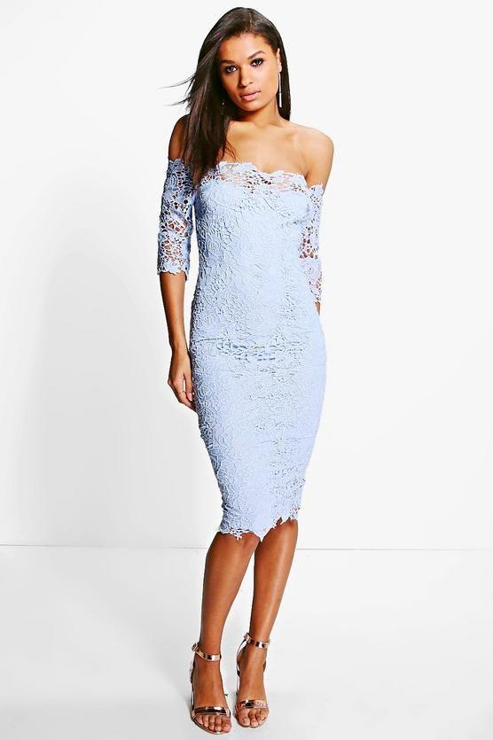 5216d569c7071 Boutique Crochet Off Shoulder Midi Dress | WARDROBE. | Boohoo midi ...