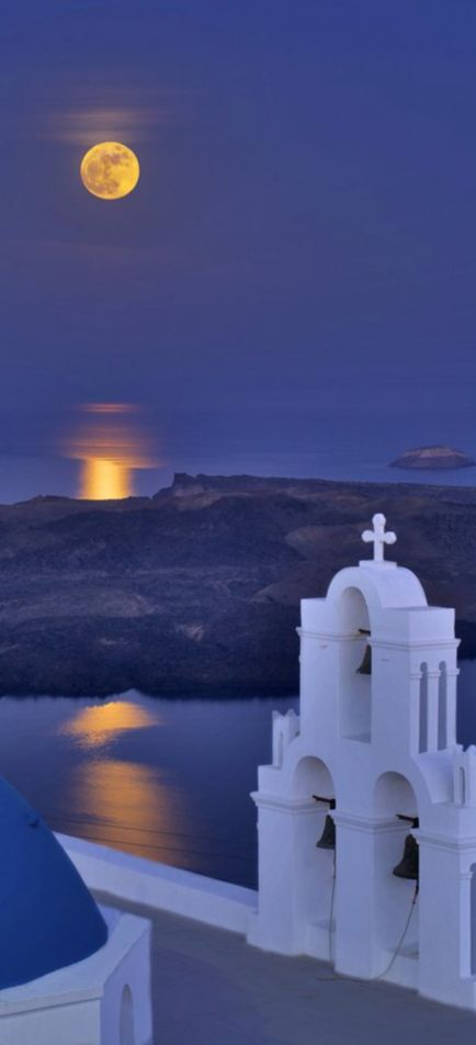 Full Moon over Santorini, Greece