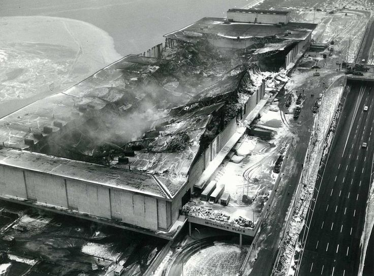 The first McCormick Place, destroyed by fire, 1967, Chicago.