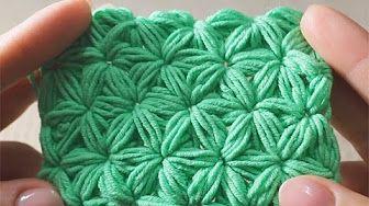 1 Вязание крючком Узор Звездочки Схема Crochet Star Stitch pattern - YouTube