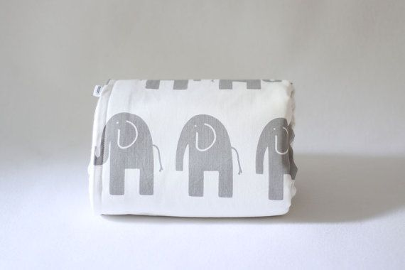 Baby blanket  Grey Elephant on White backed with Cream by raenne, $60.00