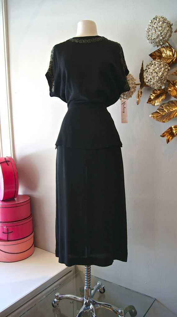 40s Dress // Vintage 1940s Beaded Femme Fatale by xtabayvintage, $248.00