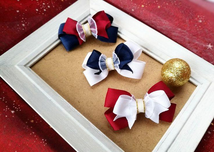 3 urocze spinki kokardki bordo granat biel złoto - MadebyKaza - Spinki do włosów dla dzieci