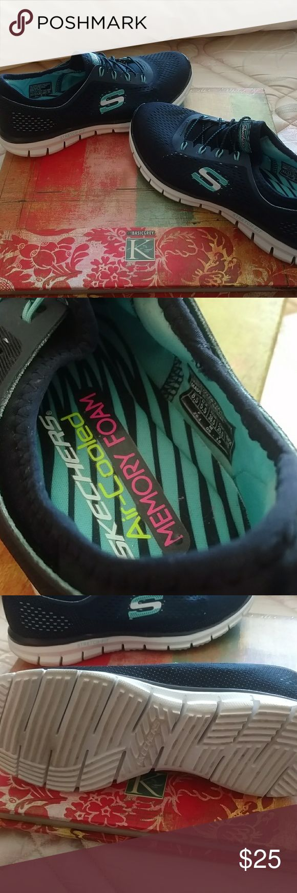 Women's Sketcher tennis shoes size 8 1/2 Like new condition I wore them 2 times. Size eight and a half women's fashion tennis shoes buy Skechers memory foam cool air Shoes Athletic Shoes