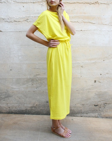 yellow dress by black crane