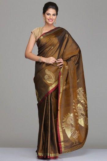 Brown Kanjivaram Silk Saree With Maroon And Half-Fine Gold Zari Striped Border And Peacock Motifs