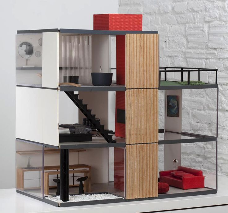 Modern dolls house with beautiful style furniture