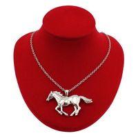 """2014 New Fashion női ékszer divat Ezüst Tone ékszer Running Horse Medál 27 """"nyaklánc nagykereskedelmi Ingyenes házhozszállítás EA62"""