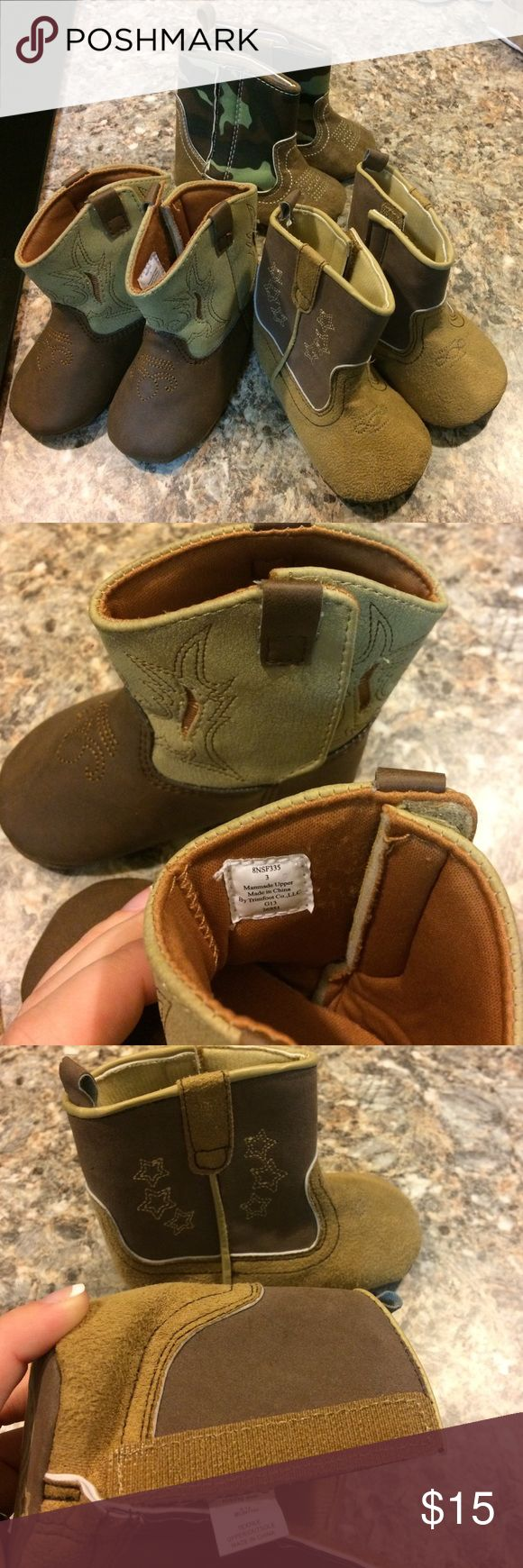 3 pairs of infant boys cowboy boots. 3 pair of infants cowboy boots. Never worn. Excellent condition. First pair is size 3. Last two pair are 9-12 months. rising star Shoes Boots