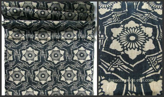 Katazome is a traditional Japanese dye technique using a katagami stencil and flour and water resist paste. Around 100 years old, this Meiji / Taisho era textile is covered with geometric flowers framed in bamboo.    Hand spun, hand woven cotton. Quite sturdy.