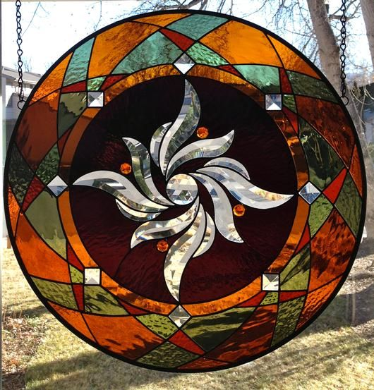 Round Stained Glass Window Panel - by Amber Glass Studio