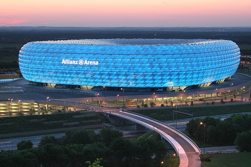 Munich Football Stadium-Allianz Arena-Blue for 1860 and Red for FC Bayern