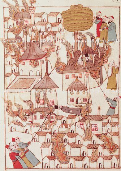 Fire in Constantinople, miniature from Turkish Memories,  Cicogna Codex, Turkey 17th Century.