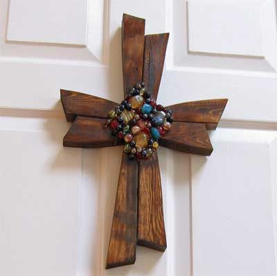 -Hand Carved Cross with Stones (Home Decor / Wall Crosses)