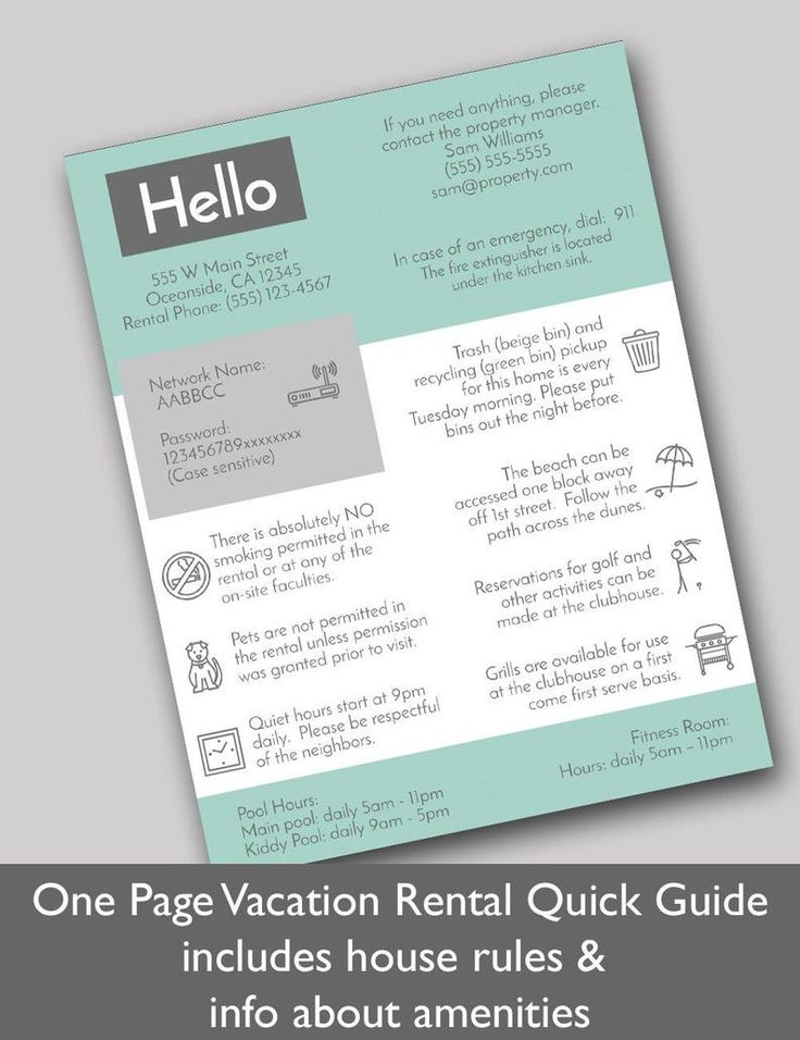 1 Page Vacation Rental Quick Guide Airbnb Template