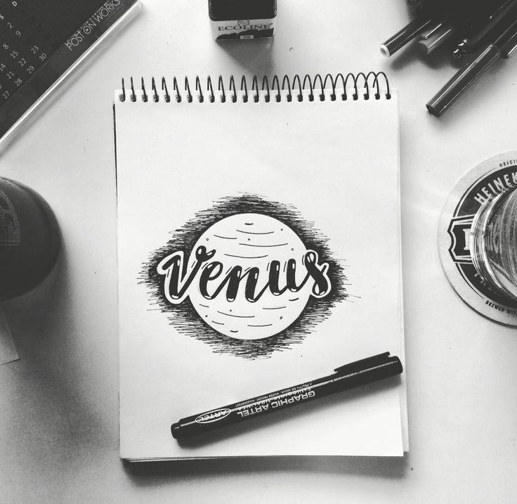 Me llevas a Venus que es mi planeta natal 🌟🎵 #Venus #Planet #lettering #caligraphy