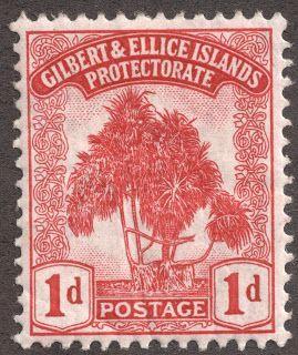 "Gilbert & Ellice Islands 1911 Scott 9 10 carmine ""Pandanus"""