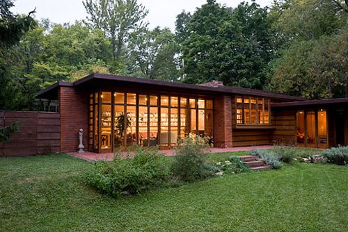 Usonian house by Frank Llyod Wright in western Washington connects inside with outside for an organic whole.