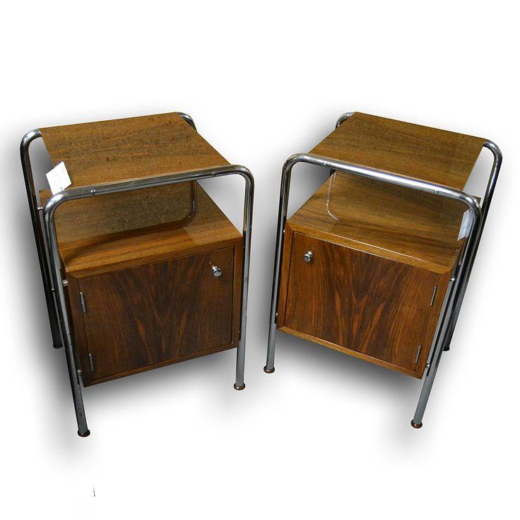 Chromové noční stolky Fa. Slezák   Functionalism chrome bedside tables - Fa. Slezák   Nový Antik Bazar / Starožitnosti