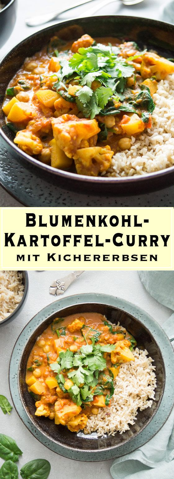 Ein gesundes und einfaches Rezept für Blumenkohl-Kartoffel-Curry in einem Re …   – Vegetarisch | Vegetarian