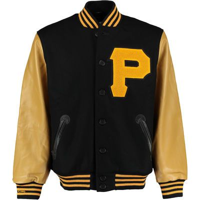 Men's Pittsburgh Pirates Mitchell & Ness Black Authentic Wool & Leather Jacket