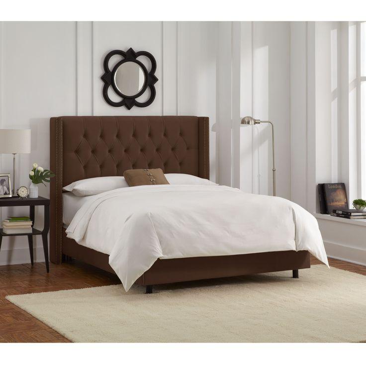 Skyline Furniture Chocolate Velvet Diamond Tufted Wingback Nail Bed  (California King, Chocolate),