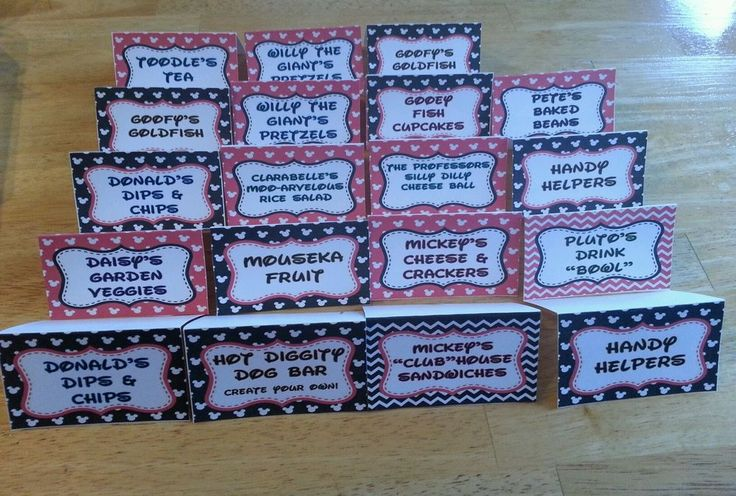 Lot of 20 mickey mouse clubhouse birthday party food labels minnie toodles pete