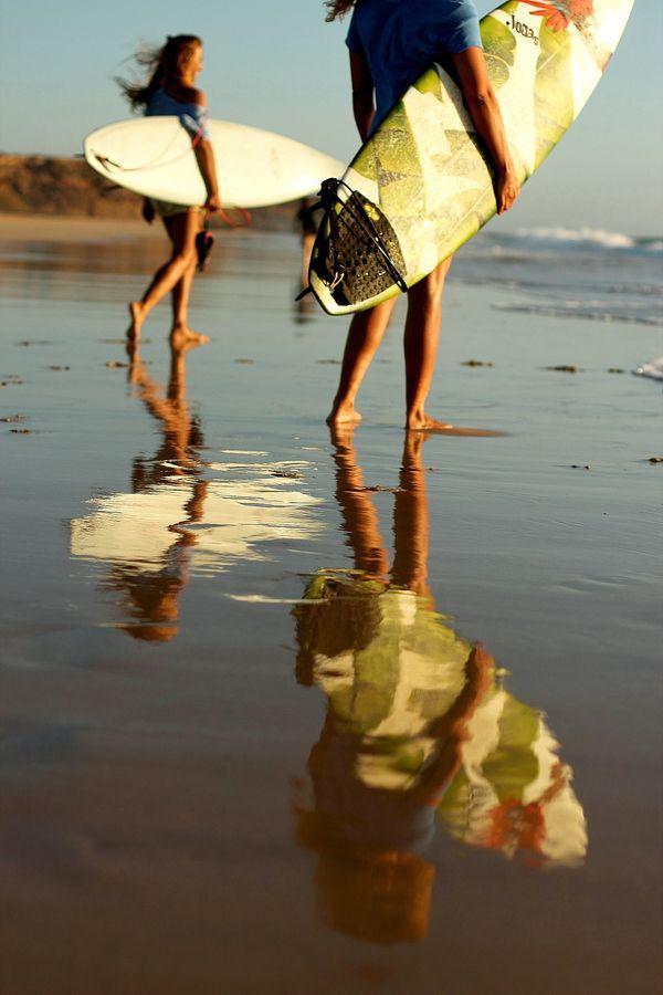 Surf, girl, SURFBOARDS, Fuerteventura, sunset, summer, sea, ocean, waves