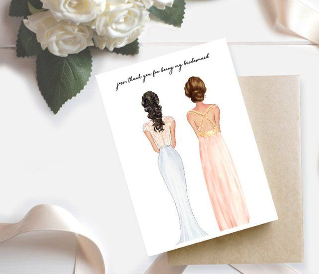 Thank You For Being My Bridesmaid Card Bridesmaid Card Thank You