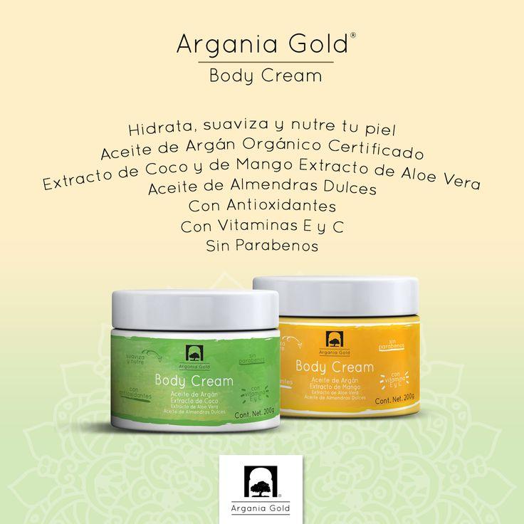 Conoce Argania Gold® Body Cream con Aceite de Argán Orgánico y Certificado, Extracto de Coco y de Mango, Extracto de Aloe Vera y Aceite de Almendras Dulces. Precio Público: $399