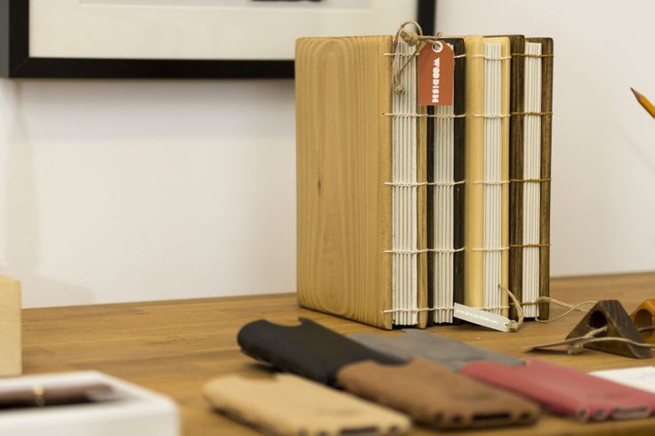 Woodish notebook and leather smartphone cases