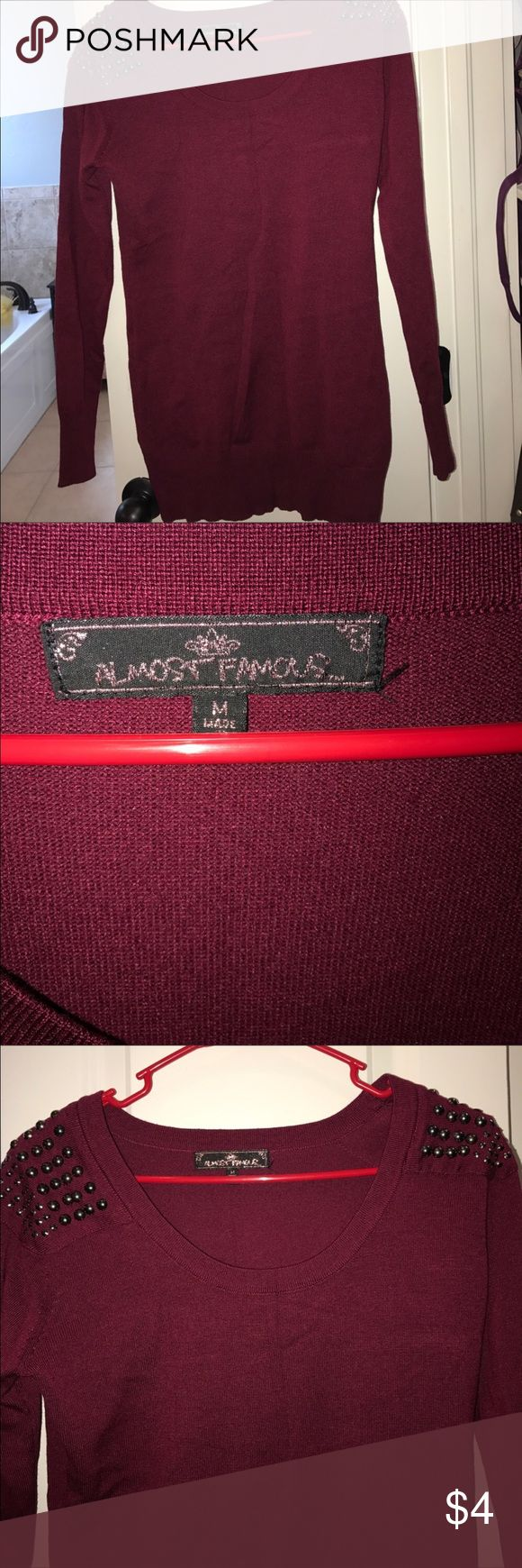 EUC maroon sweater with embellished shoulders Only worn a couple of times Almost Famous Sweaters Crew & Scoop Necks