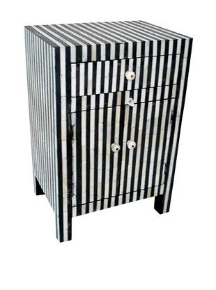 -44,800% OFF Mili Designs 1 Drawer 2 Doors Striped Bone Inlay Bedside, Black/Cream