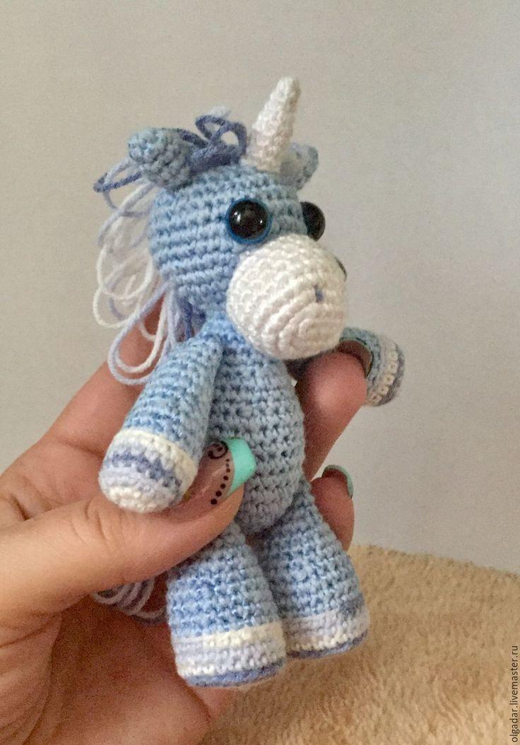 Купить Лошадка Единорог крючком - голубой, лошадка, единорожка, единорог, игрушка ручной работы