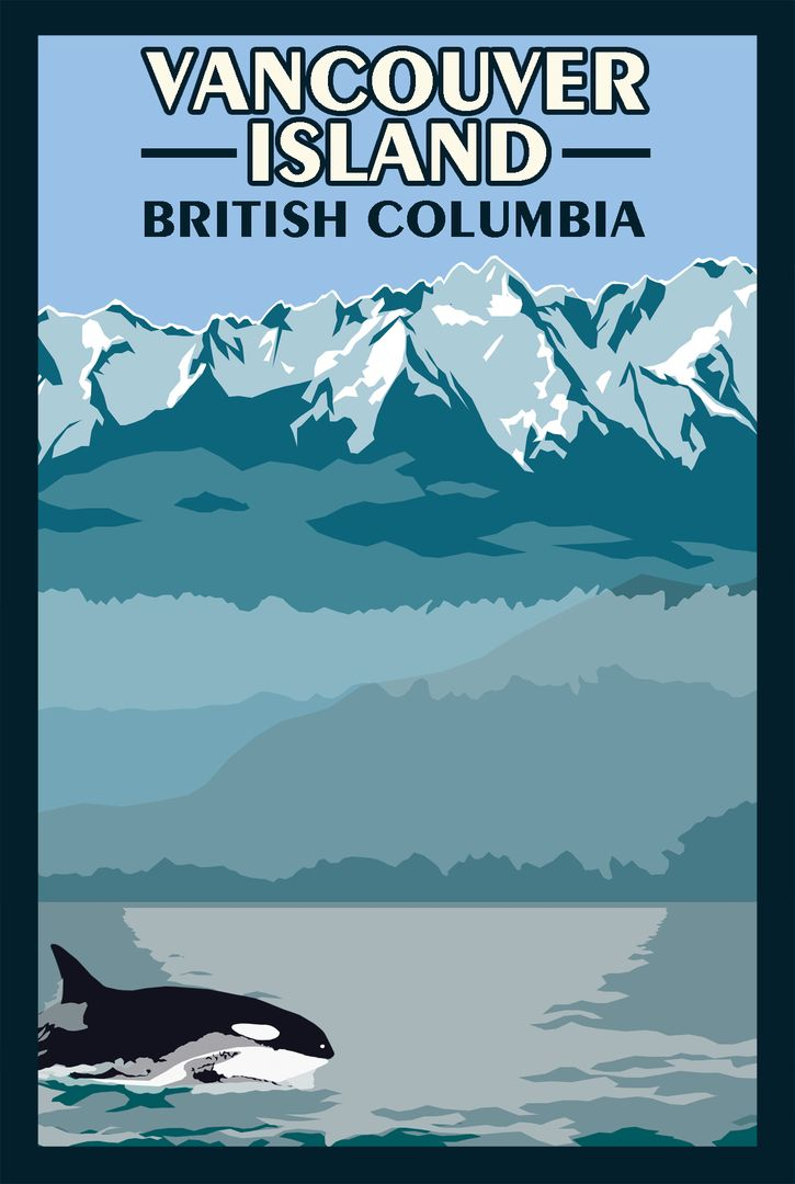 Not crazy about the typography, but I sure like the illustration. Vancouver Island BC - Vintage Travel Poster