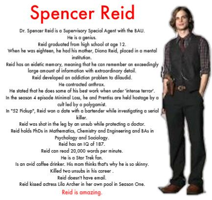 """This just about sums it up. In """"Amplification"""", the episode where he contracted anthrax, the doctor offered him painkillers and he very quickly and emphatically replied, """"I feel fine and I don't want any narcotics."""" Reid is amazing."""
