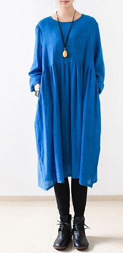 2016 fall Royal blue shirt dress plus size maternity dresses