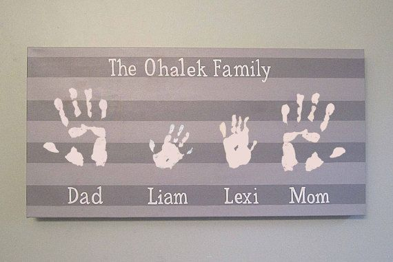 "Any Color, Stripe Family Handprint or Footprint Family Canvas Keepsake, 12x24"" by SnowFlowerArts"
