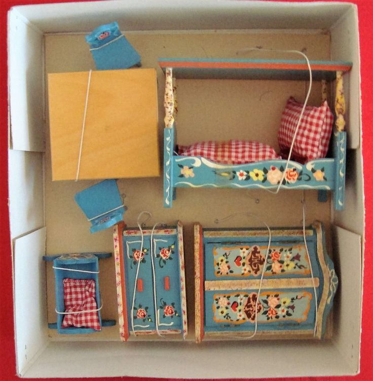 Vintage Dollhouse Furniture For Sale Part - 18: Vintage 1960u0027s Dora Kuhn German Doll House Furniture Still Tied In Box Exc