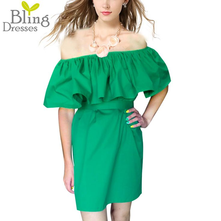 Sexy Off the Shoulder Ruffled Collar Summer Women Knee-Length Dress 2016 Fashion Natural Color Free Size Strapless Dress Loose
