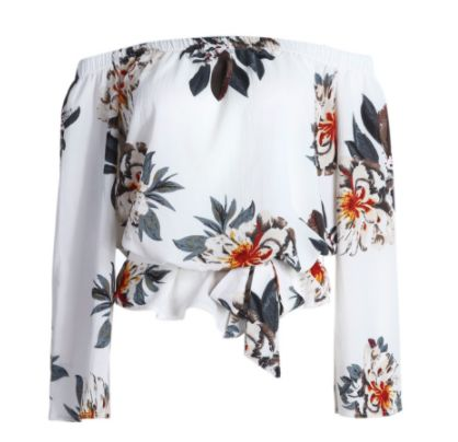 Floral Flock | FRONT |  Available in: White  R280.00 | S | M | L |