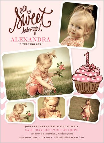73 best first birthday party images on pinterest birthday ideas birthday invitations sweet little cupcake rounded corners pink baby girl first stopboris Image collections
