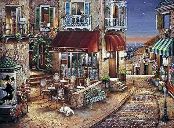 Cafe Romantique - Counted cross stitch pattern in PDF format