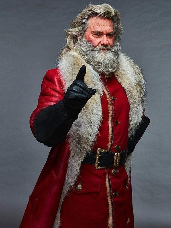 Santa Claus The Christmas Chronicles Kurt Russell Fur Shearling Coat Celebrity Jackets Santa Claus Costume Red Coat